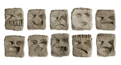 Modelling clay cubical, cube faces, sculptures set isolated on white background with clipping path