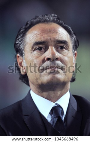 "Modena Italy 09/11/2012, ""Alberto Braglia"" Stadium, Brazil 2014 World Cup Qualification, Italy-Malta match: Cesare Prandelli, coach of the Italian National, during the National anthem before the match"