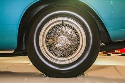 MODENA, ITALY - APRIL 2015: Museum  Enzo Ferrari Modena. Blue Ferrari 500 Superfast 1964. Front view of wheel.