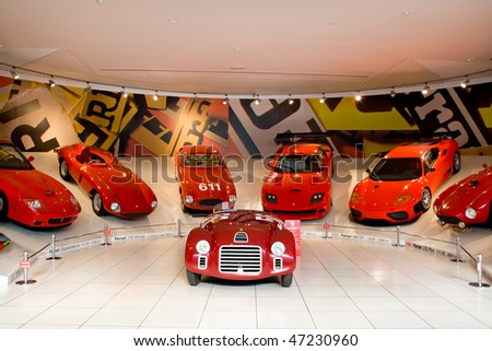 MODENA, ITALY - JULY 09: Red sport car Ferrari at Exhibition of Ferrari cars on July 09, 2008 in Modena, Italy.