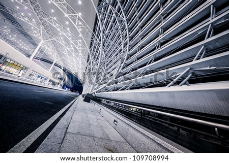 modenrn railway station at shanghai china. - stock photo