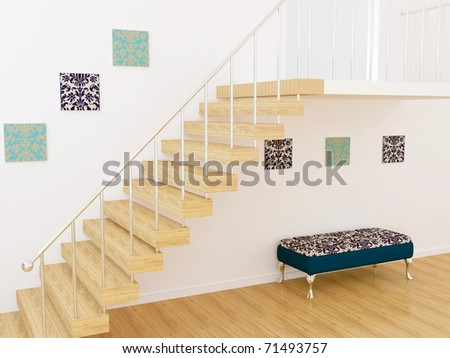 Moder interior design, room with stairs, 3d render