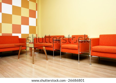 Moderm interior of a waiting room