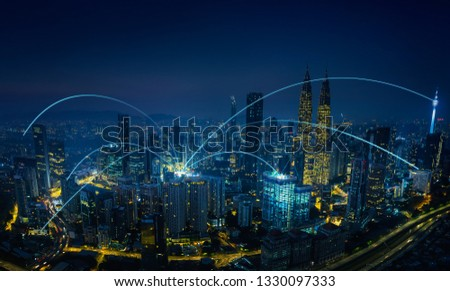 Modern abstract cityscape and network connection concept . #1330097333