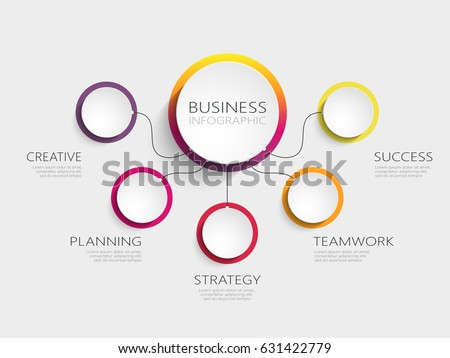 Modern abstract 3D infographic template with five steps. Business circle template with options for brochure, diagram, workflow, timeline, web design