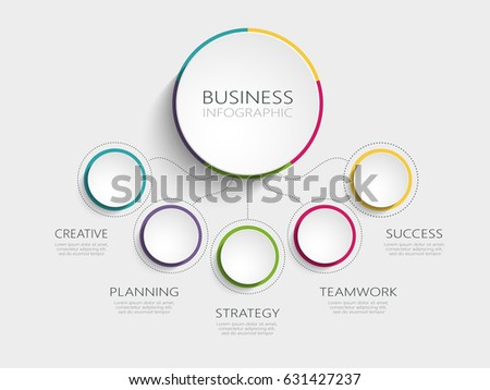 Modern abstract 3D infographic template with five steps for success. Business circle template with options for brochure, diagram, workflow, timeline, web design