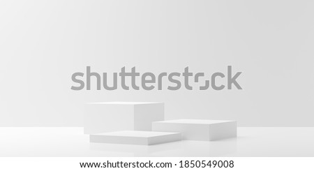 Modern abstract empty white room with three podiums in the center, product presentation template or winning ceremony background, 3D illustration