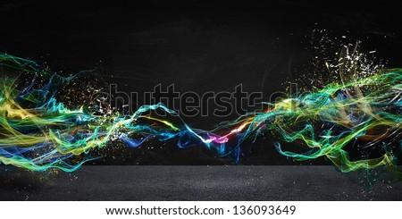 Modern abstract motion banner on dark background #136093649