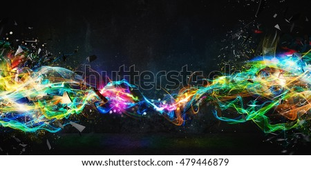 Modern abstract motion banner on dark background #479446879