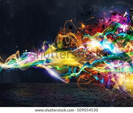Modern abstract motion banner on dark background #509054530