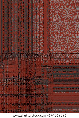 modern abstract plaid, check floral damask pattern