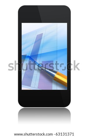 modern abstract touch screen phone with chart and pen on screen , isolated on white background