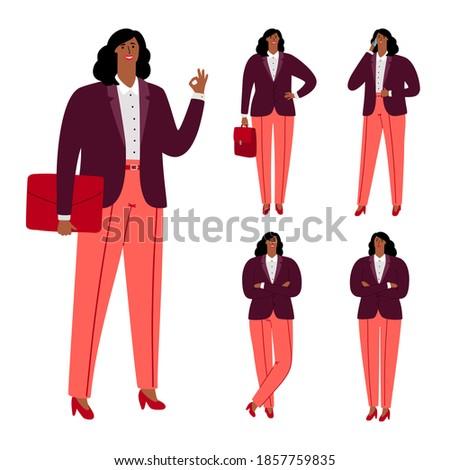 Modern afroamerican businesswoman character design. Illustration of afroamerican adult, successful leadership woman Stock photo ©