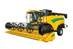 Modern agricultural combine, front view