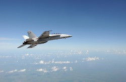 Modern Air force jet fighter at high altitude