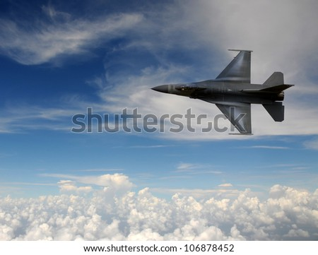 Modern air force jetfighter at high altitude