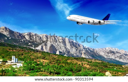 Modern airplane  in South part of Crimea. Ukraine.