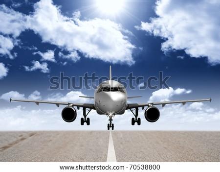 Modern airplane in the runway
