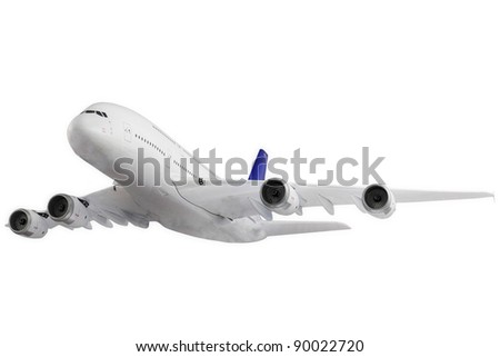 Modern airplane isolated on white background.