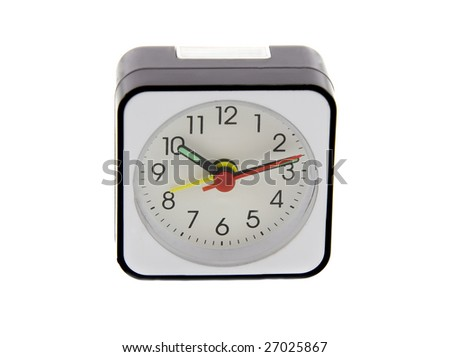 Modern alarm clock isolated over white. Time is
