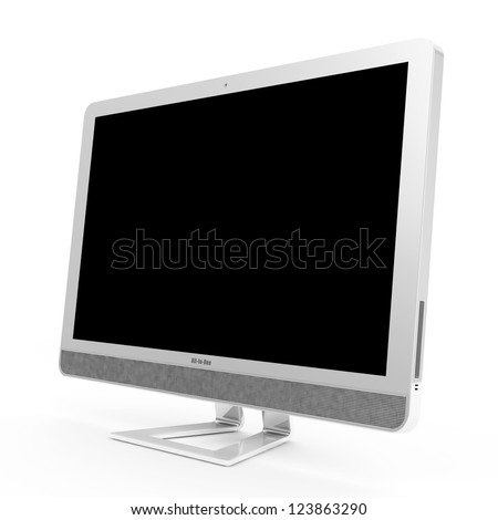 Modern All In One Computer isolated on white background