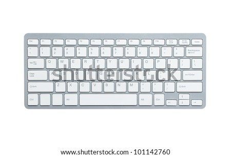 Modern aluminum computer keyboard isolated on white background with cliping path #101142760