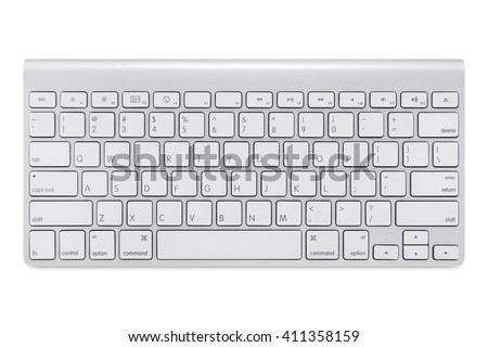 Modern aluminum computer keyboard isolated on white background with cliping path #411358159