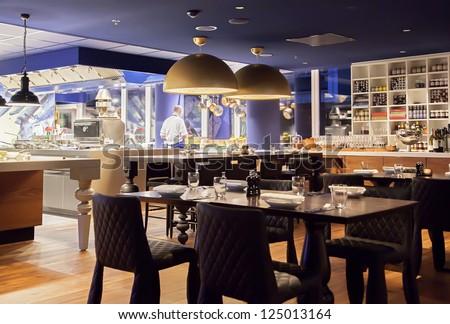 modern Amsterdam's restaurant with open kitchen #125013164