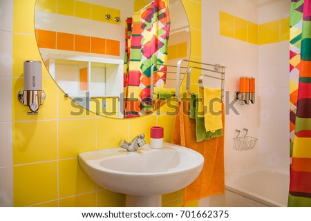 modern and colorful bathroom....