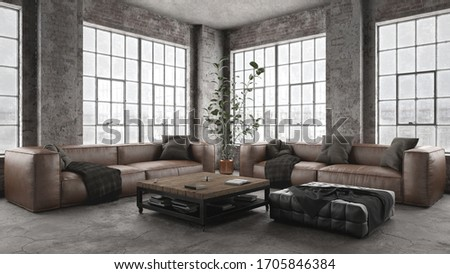 Modern and comfortable leather sofa in old industry styled interior - 3 d rendering  stock photo