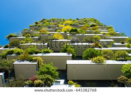 Modern and ecologic skyscrapers with many trees on every balcony. Bosco Verticale, Milan, Italy #645382768