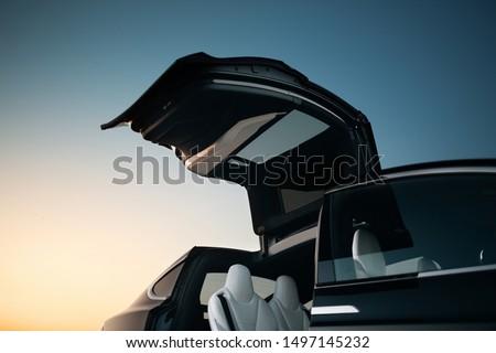 Modern and futuristic suv car vertical door