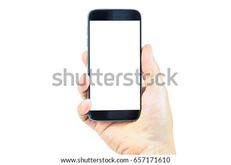 Modern and generic blank smartphone in the hand - mockup resource. #657171610
