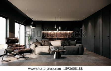Modern and luxury dark tone living and dining room apartment mock up with gray fabric sofa, brown leather armchair and footrest chair, dining table and chairs and kitchen pantry, 3d rendering.