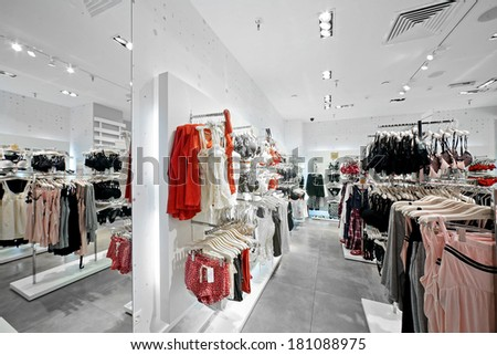 modern and luxury european shop of clothes and underwear