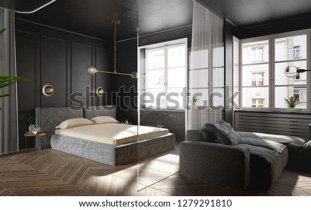 Modern and luxury open space penthouse interior - bedroom design - 3D Rendering