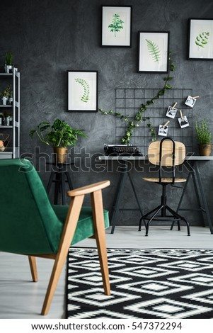 Modern and multifunctional flat apartment with plants #547372294