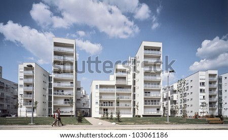 Modern and new apartment buildings