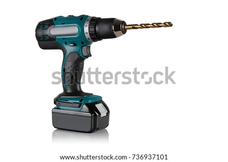 Modern and powerful battery drill on a white background