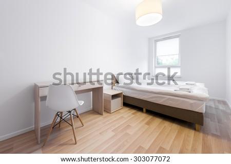 Modern and small sleeping room interior design in scandinavian style