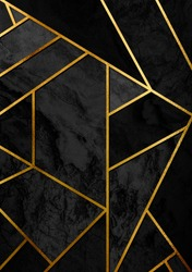 Modern and stylish abstract design poster with golden lines and black geometric pattern.