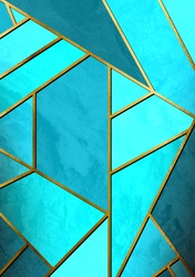 Modern and stylish abstract design poster with golden lines and blue geometric pattern.
