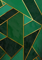 Modern and stylish abstract design poster with golden lines and green geometric pattern.