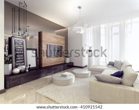modern and stylish light interior 3D rendering #410921542