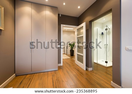 Modern anteroom interior with a view to a bathroom  #235368895