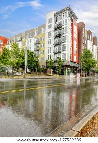 Modern apartment building exterior. Tacoma.
