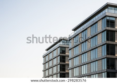 Modern apartment buildings