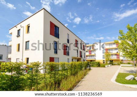 Modern apartment buildings in a green residential area in the city