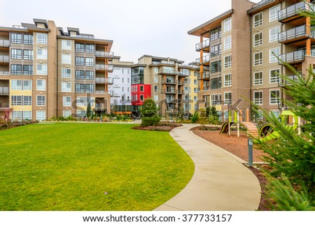 Modern apartment buildings in Vancouver, British Columbia, Canada.