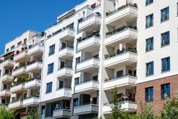 Modern apartment buildings seen in Berlin, Germany